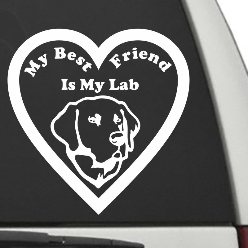 The Heart Shaped My Best Friend Is My Lab dog decal shown on a car window.