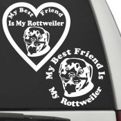 The Circle & Heart Shaped My Best Friend Is My Rottweiler dog decals are shown together on a car window.