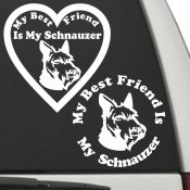 The Circle & Heart Shaped My Best Friend Is My Schnauzer dog decals are shown together on a car window.
