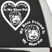 The Circle & Heart Shaped My Best Friend Is My Shar Pei dog decals are shown together on a car window.