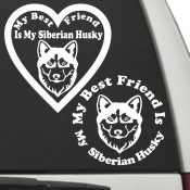 The Circle & Heart Shaped My Best Friend Is My Siberian Husky dog decals are shown together on a car window.