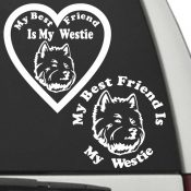 The Circle & Heart Shaped My Best Friend Is My Westie dog decals are shown together on a car window.