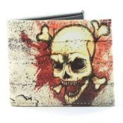 Skull With Cross Bones Vegan Wallet SBVL 524