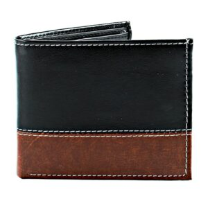 Wallet 2 Tone Brown & Black Vegan Leather