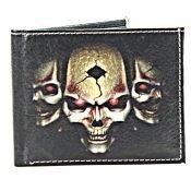 Wallet With 3 Skulls Black Vegan Leather SBVL521