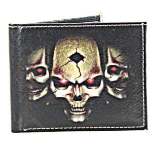 Old School Three Skull Vegan Leather Bi-Fold Wallet