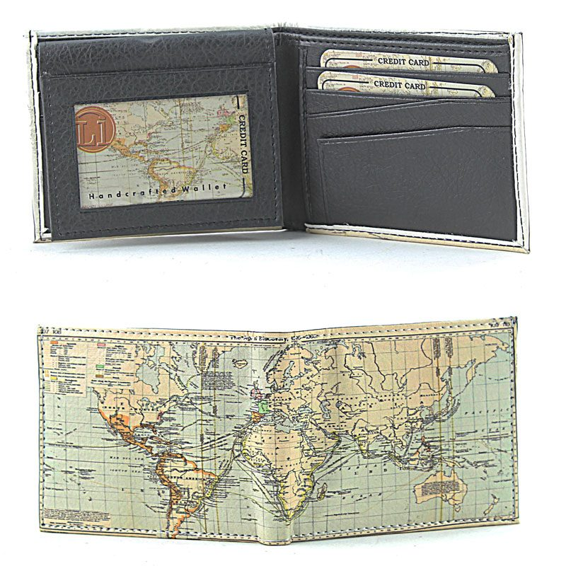 World Map Vegan Wallet Inside And Outside View SBVL 532