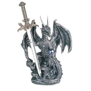 Dragon Figurine Silver with Crystal Ball & Sword