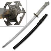 Beautifully crafted 26.5 inch carbon steel Katana with ornate silver dragon handle. Showing the black wooden scabbard that features a traditional Sageo wrapping and star shaped Tsuba.