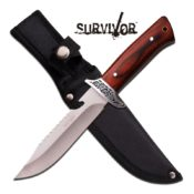 Classic style fixed blade survival & hunting knife shown here with a fine wooden handle and 600D nylon sheath with belt loop. Made by Survivor HK-785.