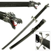 Ornately designed dragon scale katana showing the dragon head pommel, four claw tsuba and the iridescent dragon scale scabbard.