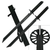 Two-Piece Black Samurai Sword Set With Japanese Inscription On The Blade & Over The Shoulder Nylon Sheath. Shows The Two Swords Combined Into One - HK-6183