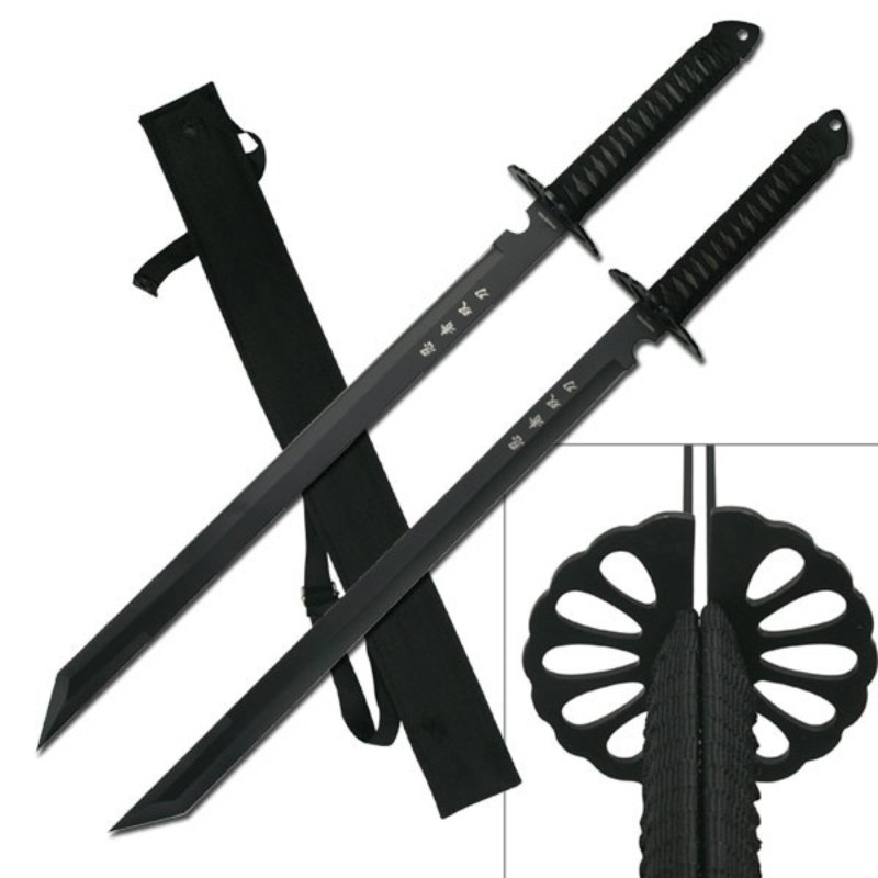 Dual Samurai Sword Set With Japanese Inscription – HK-6183