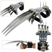 Wolverine-like, skeleton hand claw gauntlet with three steel blades protruding from the skeleton's knuckles, with a wrist strap and rubber handle to make it easy to maneuver.