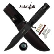 9.5 inch all black, hollow-handle survival knife featuring a non-serrated blade, dual serrated back edge, built in compass with a set of matches, thread, needle, fishing hook and fishing line in the handle.