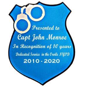 Police Shield Acrylic Wall Plaque
