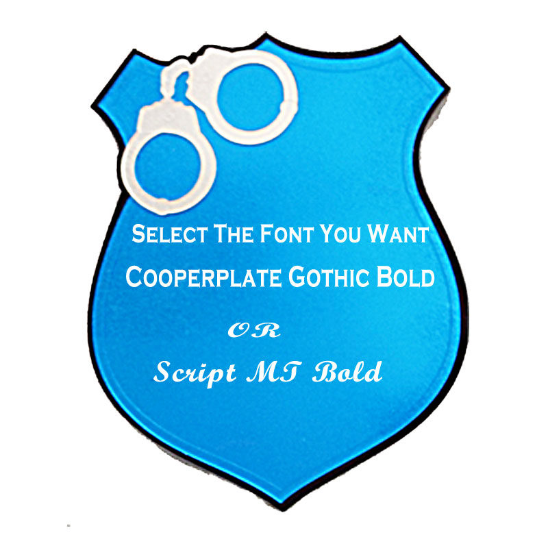 Police Shield With Handcuffs Select Your Font