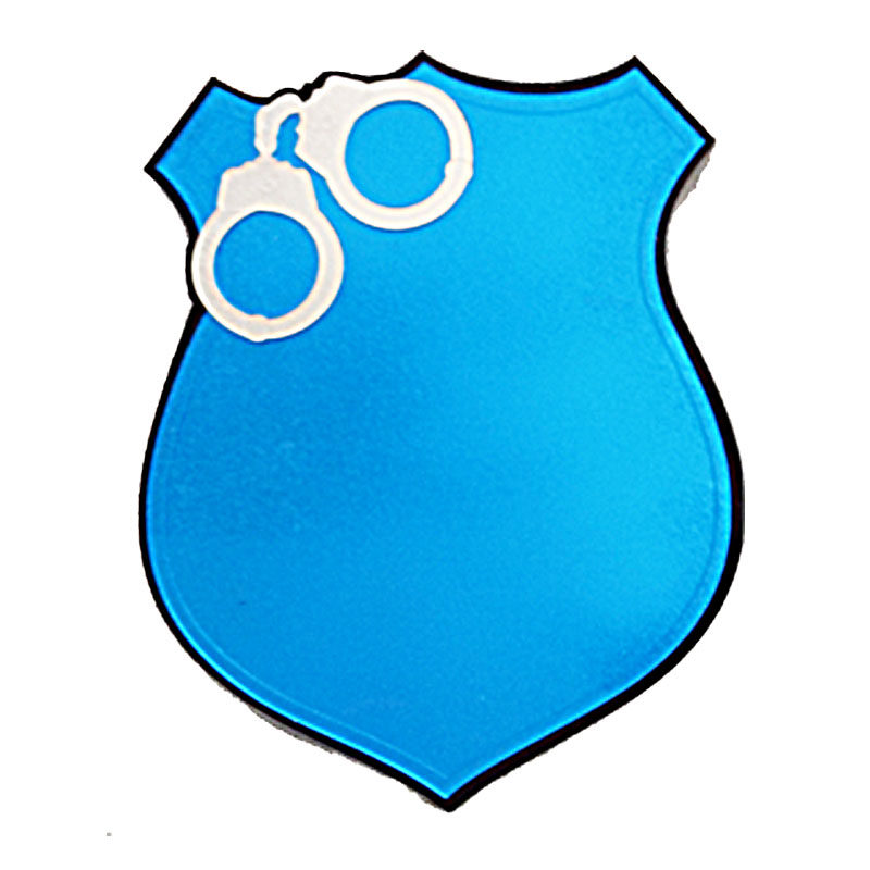 Police Shield With Handcuffs Without Engraving