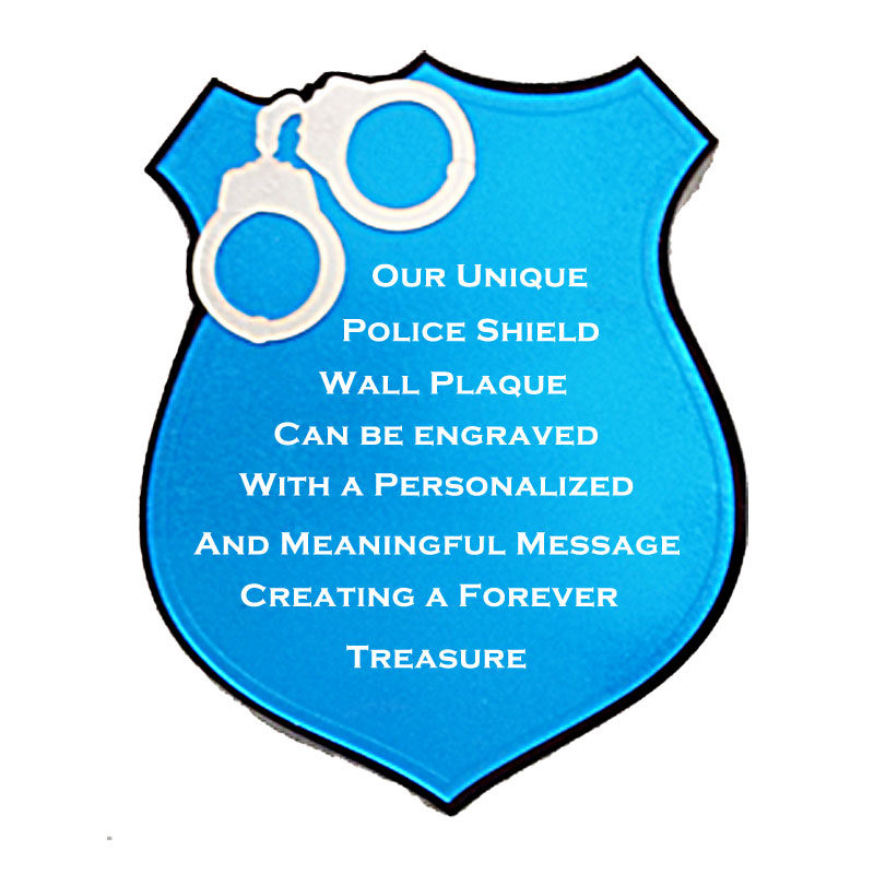 Police Shield With Handcuffs With Sample Engraving