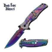 A skull themed pocket knife that has a smooth, rainbow anodized blade with skull accents that contrast the brushed steel handle of this decorative yet solid knife.
