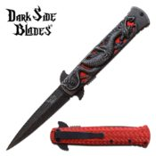 Two-toned, red & stonewashed steel dragon themed pocket knife featuring a Damascus steel look with a dragon cutout over its red handle.