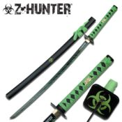 Beautifully crafted 41 inch zombie hunter Katana with green accents on the blade and wooden scabbard. Features a traditional Sageo wrapping and biohazard symbol on the Tsuba hand guard.