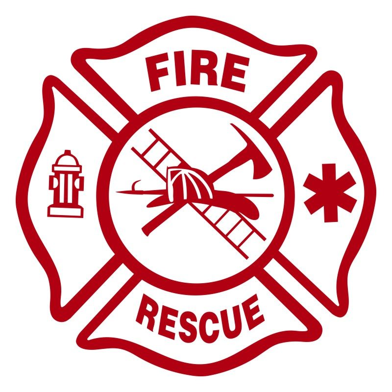 Small Custom Fire Department Rescue Truck Decal SBV19