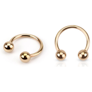 Paired Horseshoes in Rose Gold 14 g