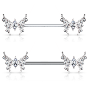 Pair of Butterflies with CZ Center Nipple Ring Jewelry