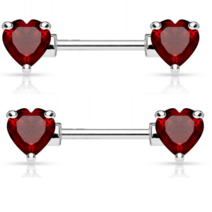 Double Heart Pair of Nipple Barbells Red CZ