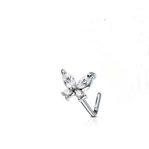 CZ Butterfly L Bend Nose Stud Surgical Steel 20g