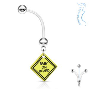 Baby On Board Flexible Belly Ring 14g