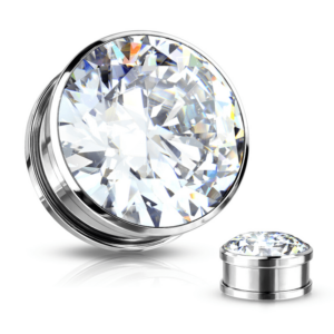 CZ Gem Pair of Screw Fit Plugs in Stainless