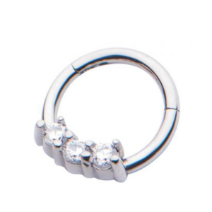 Hinged Hoop Segmented with Clear CZ Gems 16 g