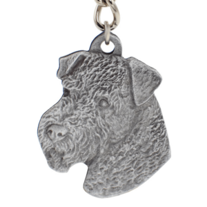 Airedale Pewter Dog Head Keychain