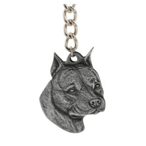 American Staffordshire Terrier Pewter Dog Head Keychain