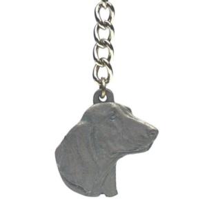 Basset Hound Pewter Dog Head Keychain