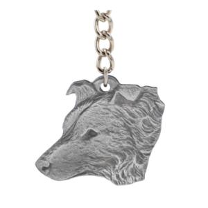 Border Collie Pewter Dog Head Keychain