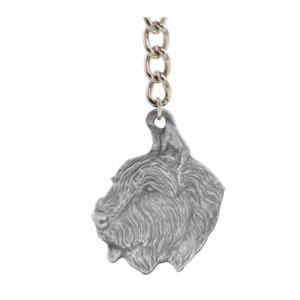 Bouvier Des Flandres Pewter Dog Keychain