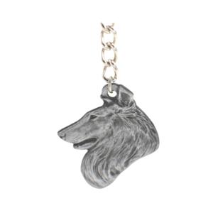 Collie Pewter Dog Head Keychain