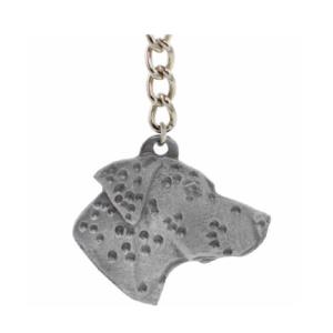 Dalmatian Pewter Dog Head Keychain
