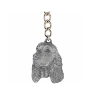 English Springer Spaniel Pewter Head Keychain