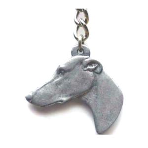 Greyhound Pewter Dog Head Keychain