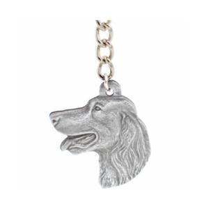 Irish Setter Pewter Dog Head Keychain