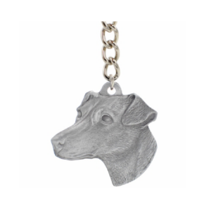 Jack Russell Terrier Pewter Dog Head Keychain