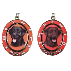 Labrador Spinning Keychains Both Black and Chocolate