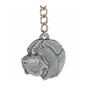 Mastiff Pewter Dog Head keychain