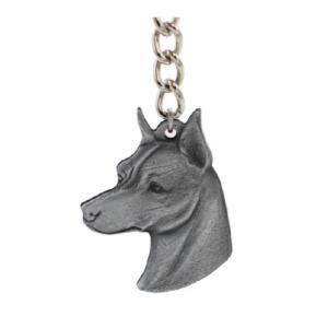 Miniature Pinscher Pewter Dog Head Keychains