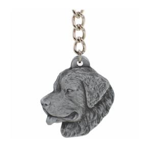 Newfoundland Pewter Dog Head Keychain