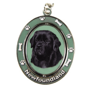 Newfoundland Spinning Dog Keychain